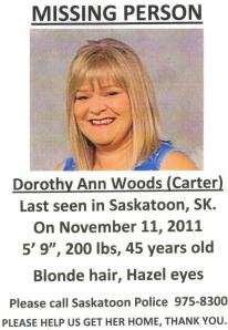 One of the many fliers that were made and circulated all around Western Canada to find Dorothy Ann Woods.