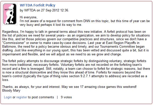 WFTDA Forfeit Policy