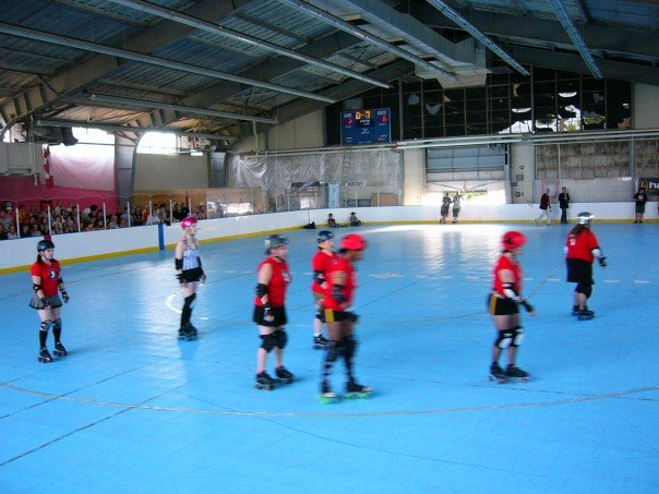 2007: Skaters warming up before the OCDG vs Terminal City Rollergirls game at the Grindhouse.