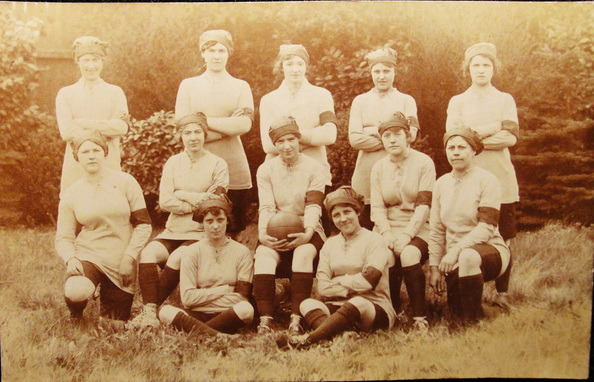"""Not a lot remains outside of some newspaper clippings and photographs like this one of an 1900s """"Unidentified Ladies Football Soccer Club."""""""